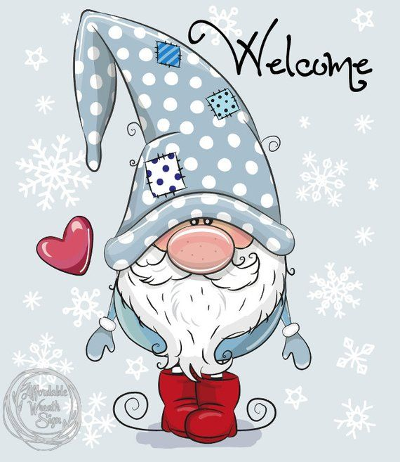 Welcome Winter Gnome, Snowflakes, Winter Sign 8.25