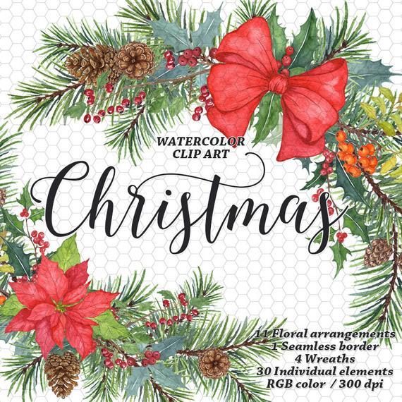 Christmas Clip Art Watercolor Christmas Rustic Christmas Wreath Watercolor  Floral Clipart Christmas Tree Poinsettia Ribbon Floral border.