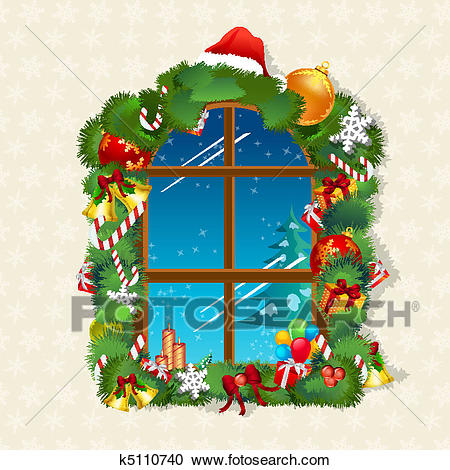 Christmas card with gifts on window Clipart.