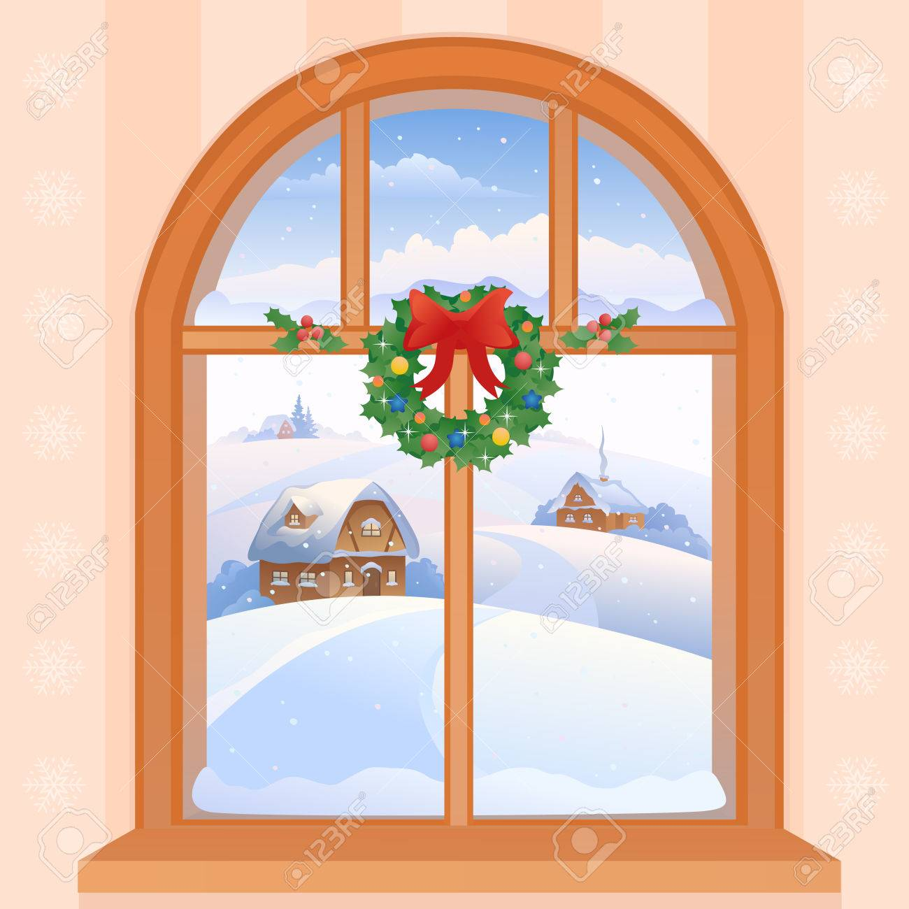 Vector illustration of a Christmas window view with a snowy landscape.