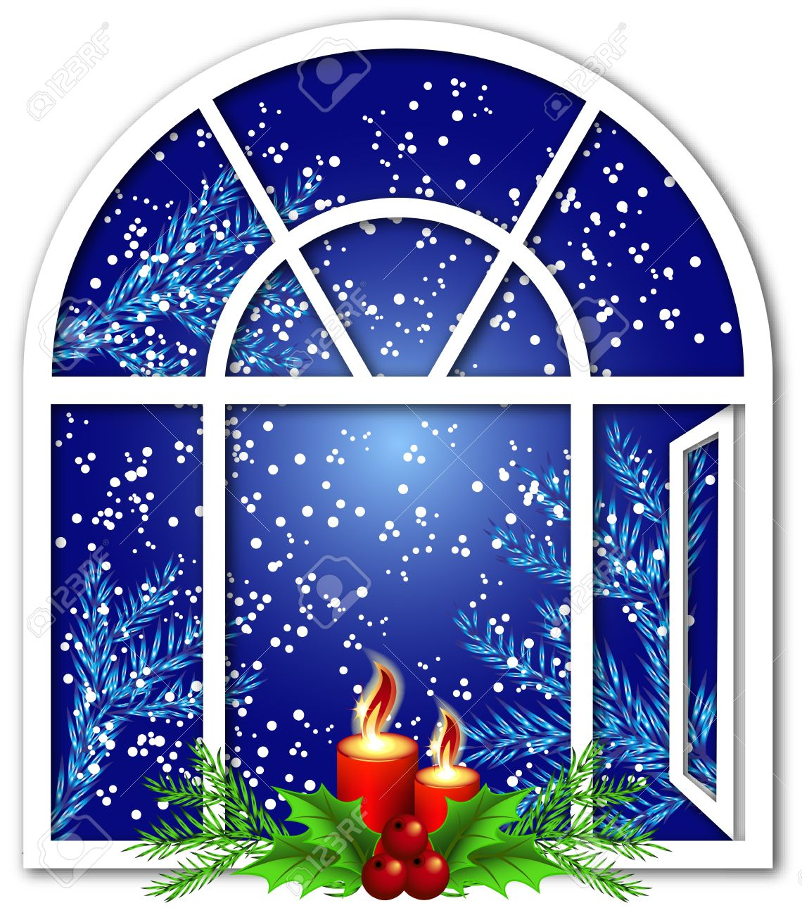 Christmas window with candles and snow.