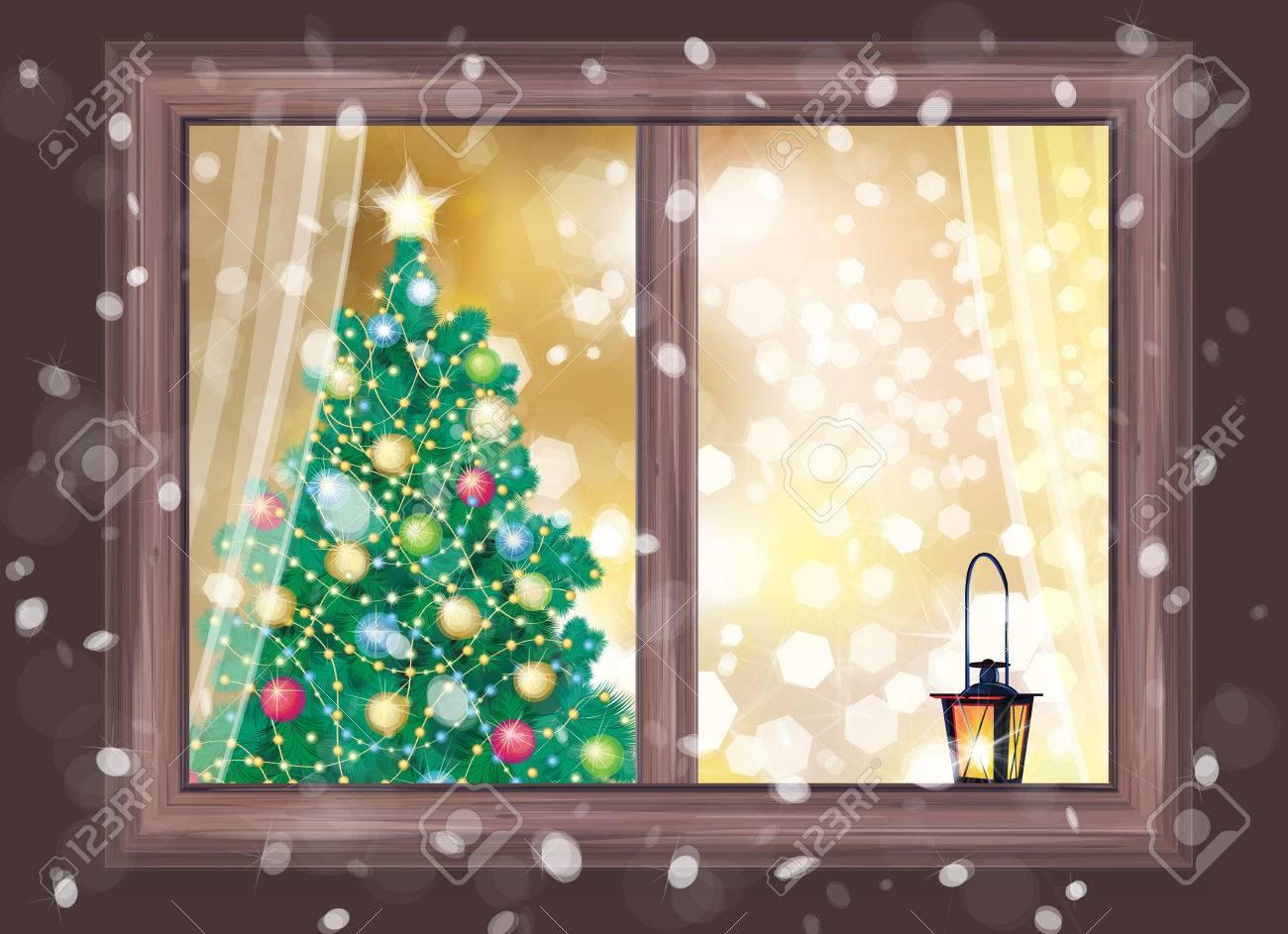 Vector winter night scene of window with Christmas tree and lantern..