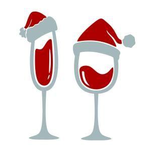 Christmas Wine Glass Santa Hat SVG Cuttable Design.