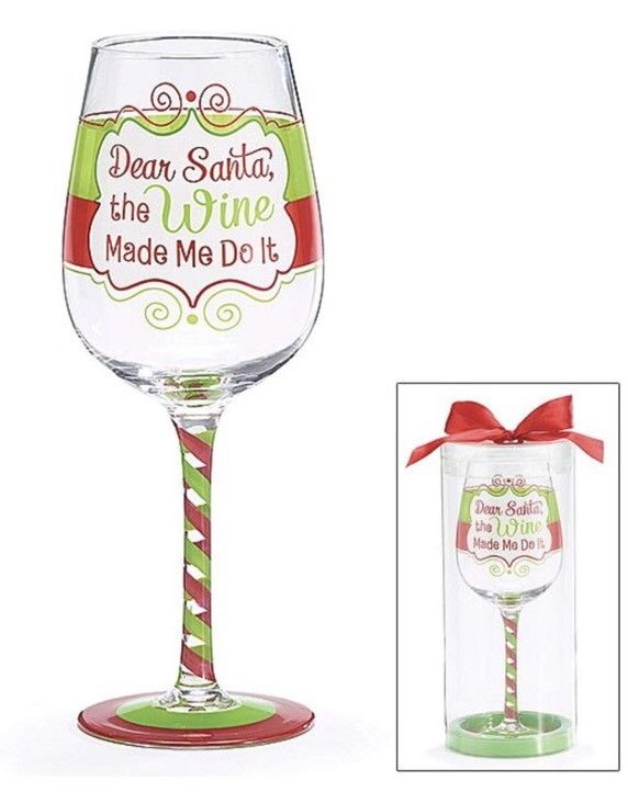 Dear Santa The Wine Made Me Do It Wine Glass Set Of Two—new In box—hand  Painted.