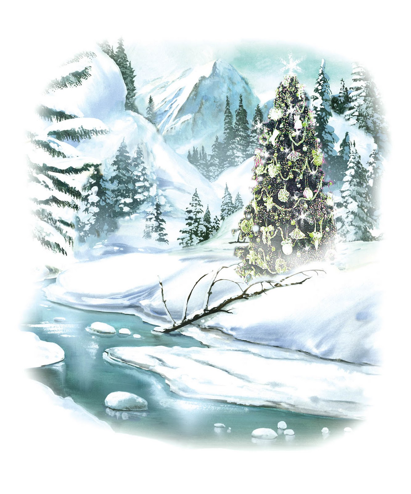 Christmas Winter Scenes Clip Art.