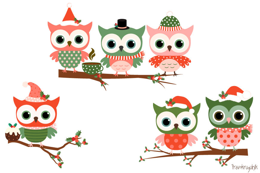 Christmas owls clipart set, Cute owl clip art, Winter holiday owls.