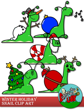 Snail Christmas / Winter Holiday Clipart.