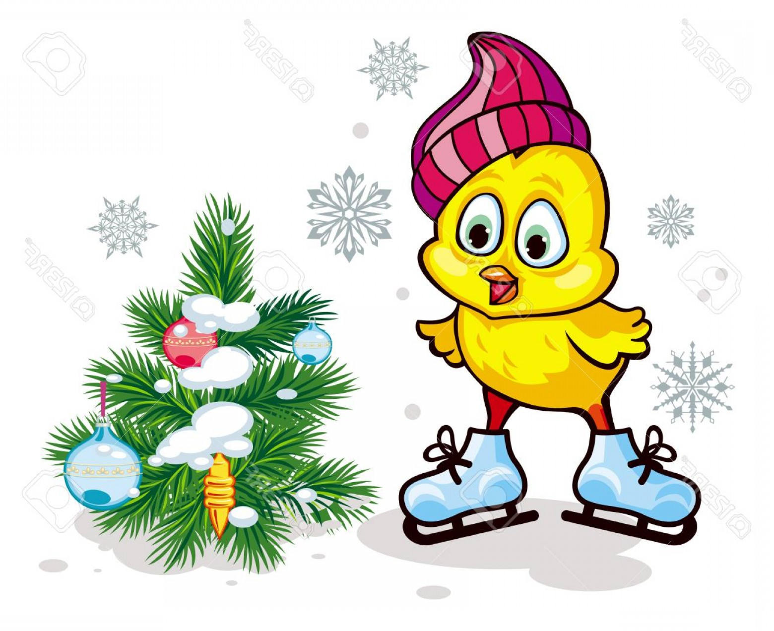 Photostock Vector Cute Chicken In Funny Hat Ice Skating Winter.
