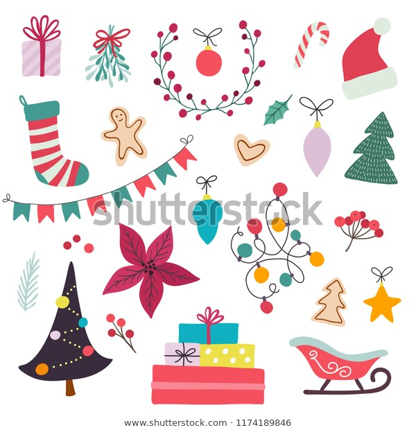 Merry Christmas Set Isolated Winter Holiday Stock Vector (Royalty.
