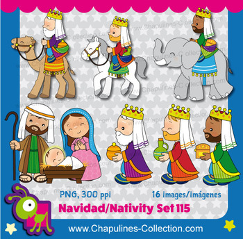 Nativity Clipart, Christmas, three wise men Set 115.