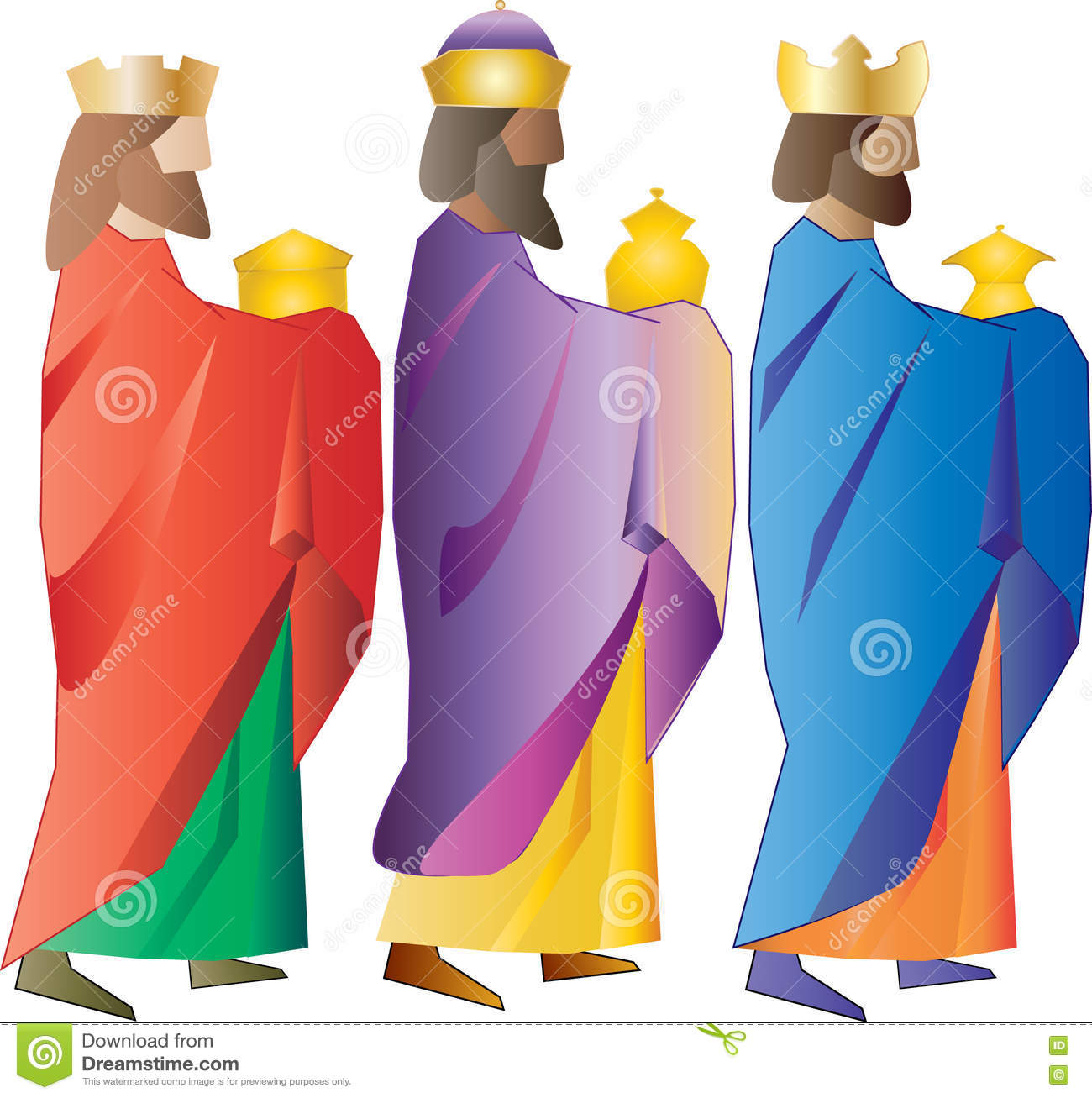 Three Wise Men Or Three Kings. Nativity Illustration. Stock.