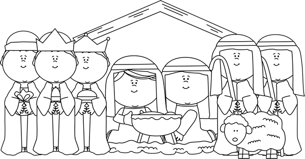 Black and White Nativity with Shepherds and Wise Men Clip Art.