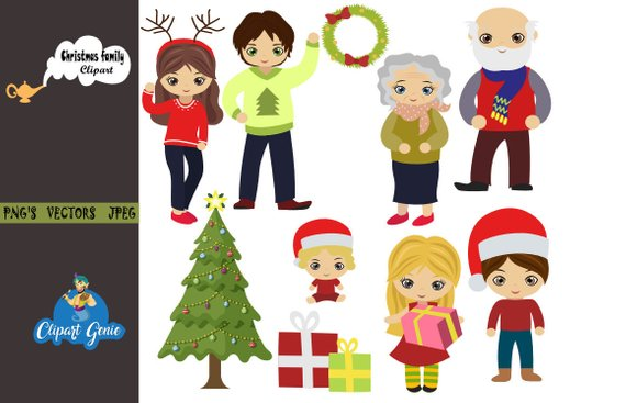 Christmas family, Christmas Digital Clip art, Christmas Tree.