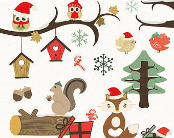 Free Christmas Woodland Clipart.