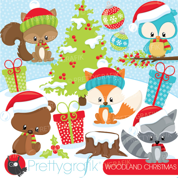 Woodland Christmas Clipart.