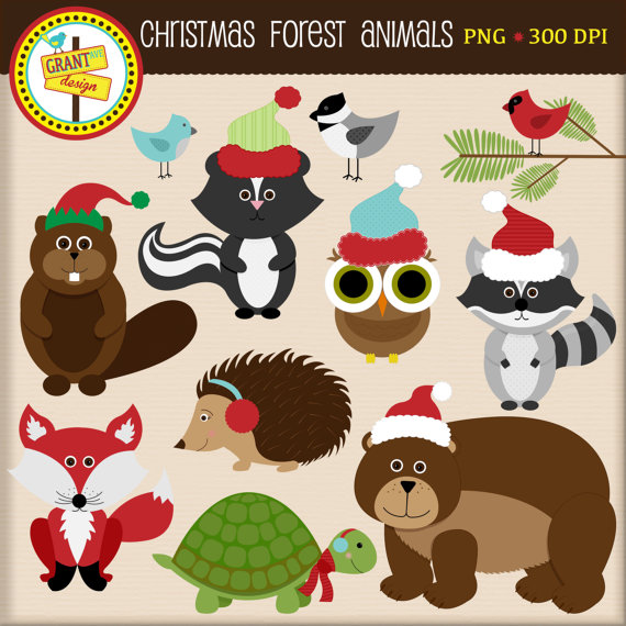 Christmas Forest Animals Clipart.