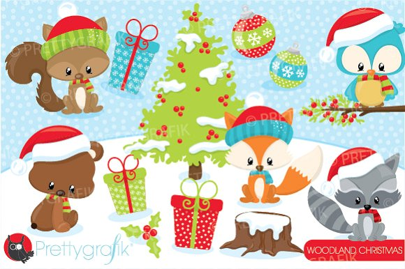 Christmas woodland clipart ~ Illustrations on Creative Market.