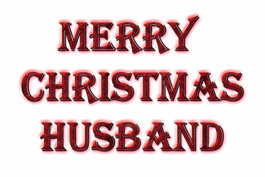 Merry Christmas Husband Word Art In Glitter.
