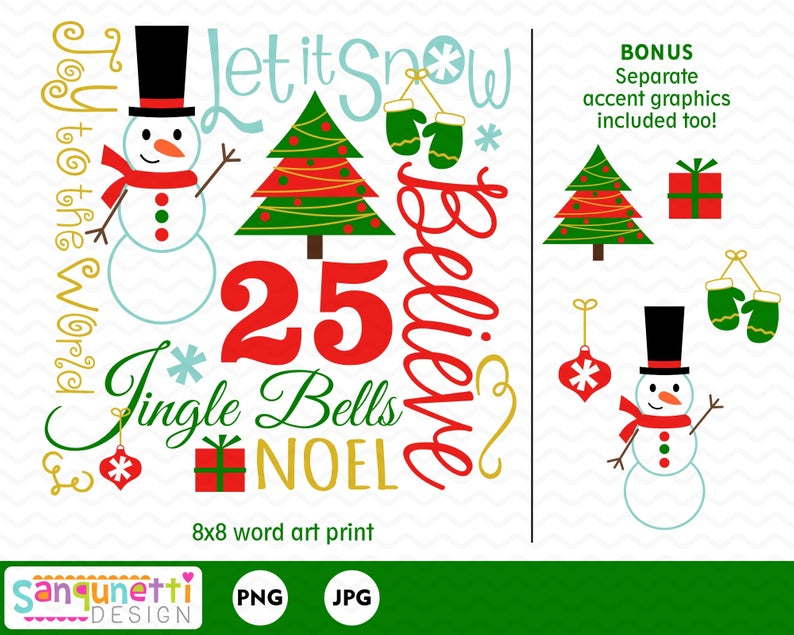 Christmas word art lettering clipart, snowman and tree digital graphics.