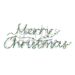 merry christmas word in christmas lights no background clipart.  Royalty.