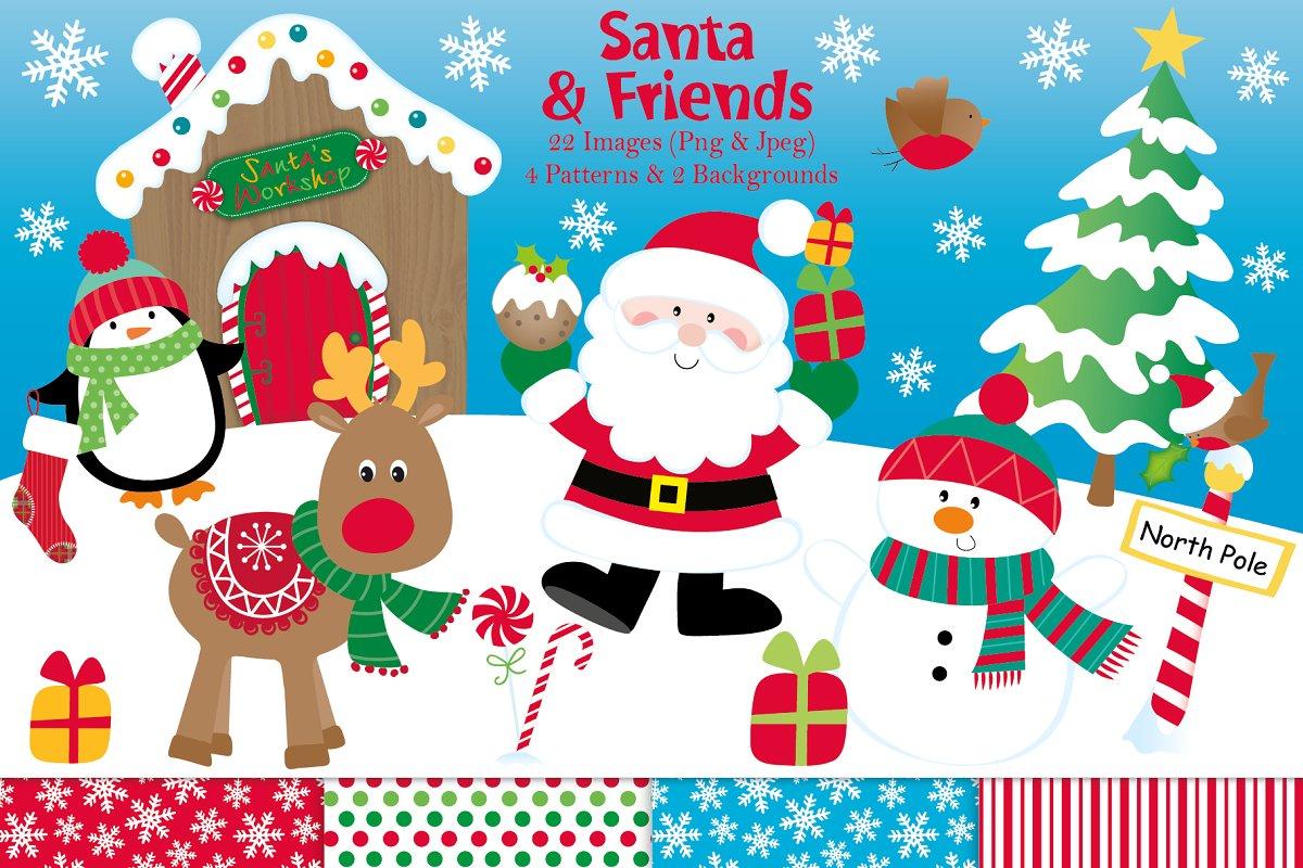 Christmas clipart, Santa graphics.