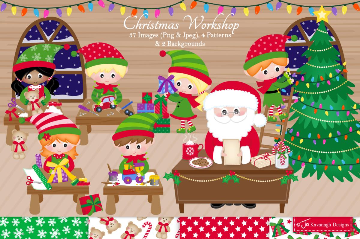 Christmas clipart bundle, Santa clipart, Elf clipart.