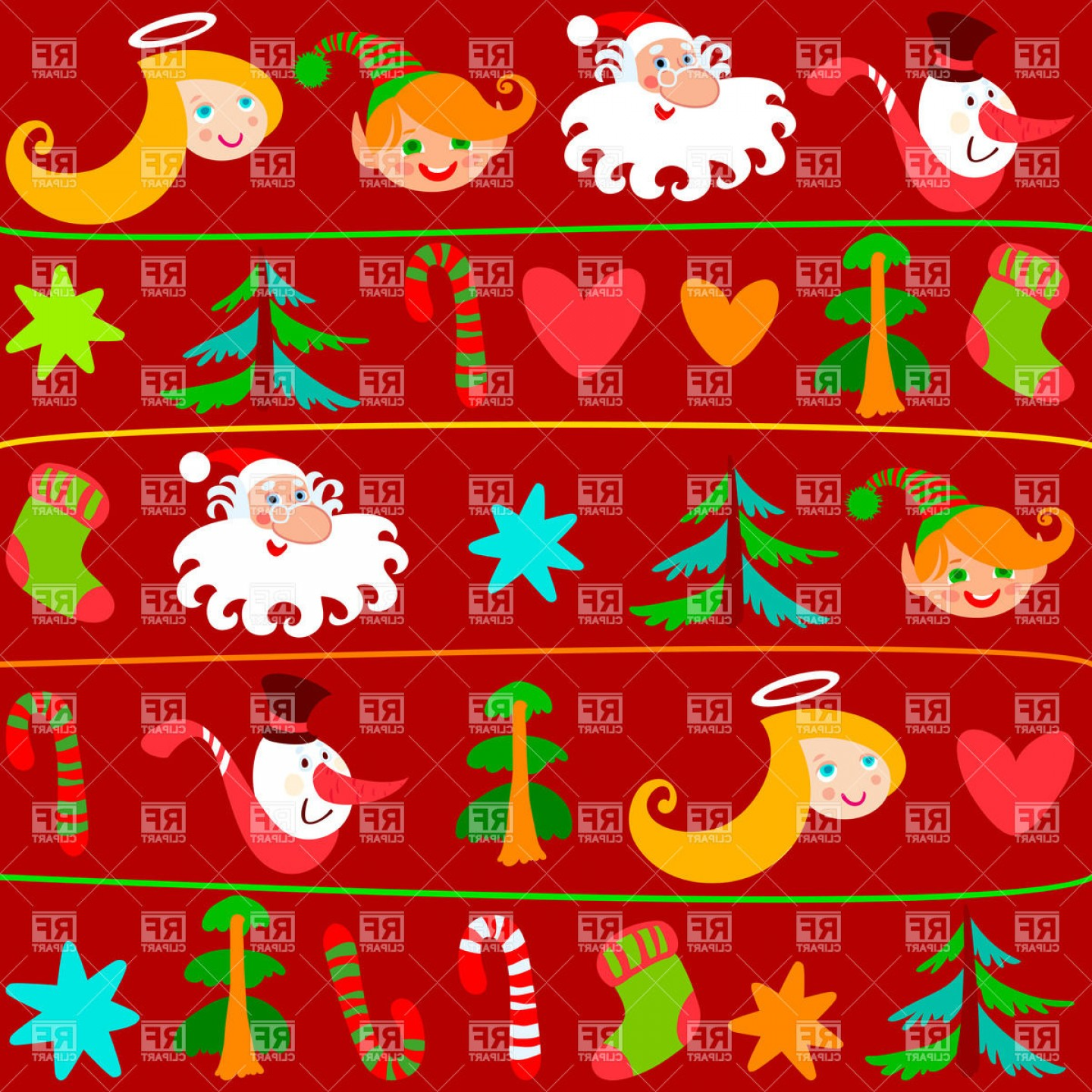 Christmas Wrapping Paper With Holiday Symbols Vector Clipart.