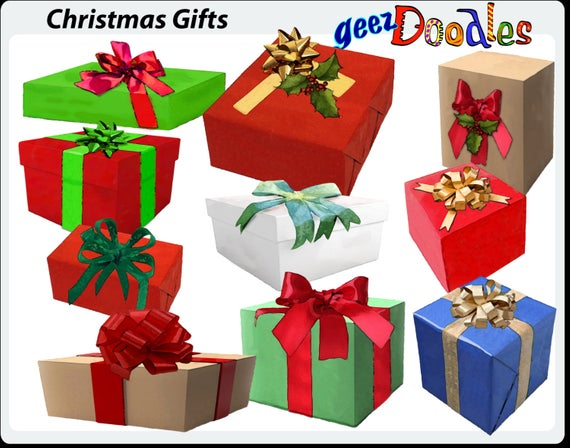 Christmas Gift Wrap Clipart, Christmas presents in watercolor style, clip  art of gift wrapping in Christmas presents.