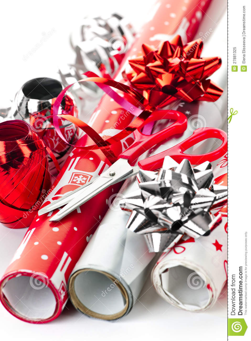 Christmas Wrapping Paper Rolls Stock Image.