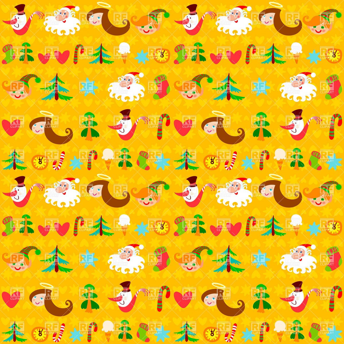 Yellow Christmas wrapping paper with holiday symbols Stock Vector Image.