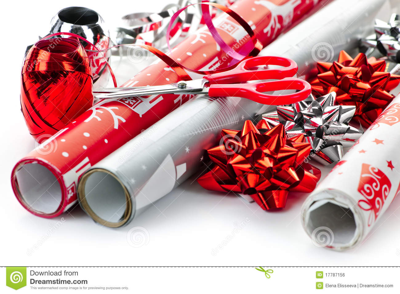 Christmas Wrapping Paper Rolls Stock Photo.