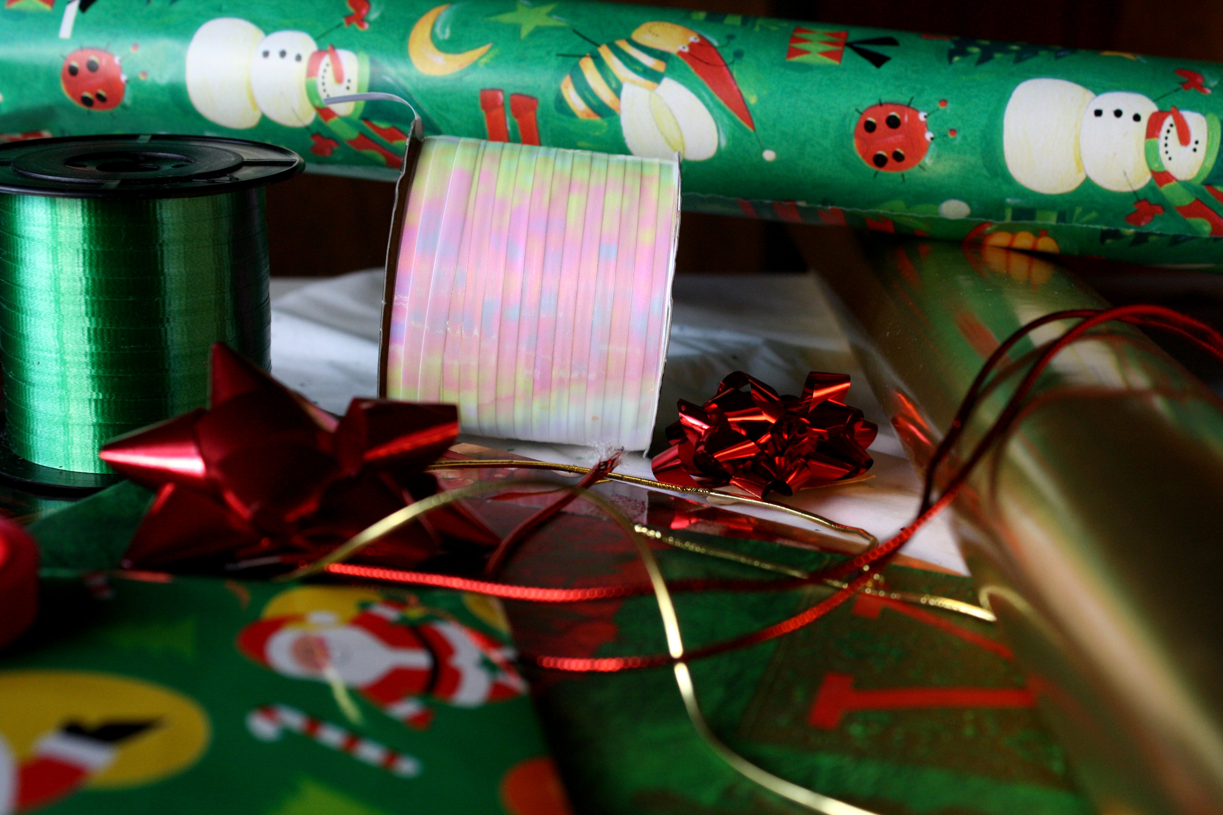 Christmas Wrapping Paper and Ribbons Picture.