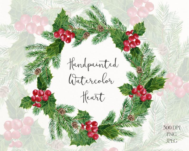Holly christmas wreath clip art.