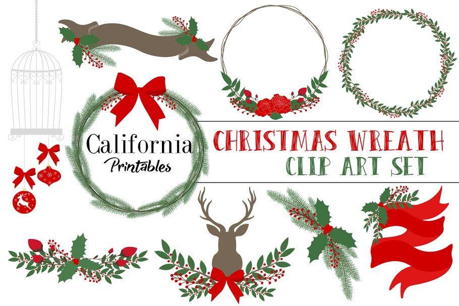 Christmas Wreath Clip Art Set.