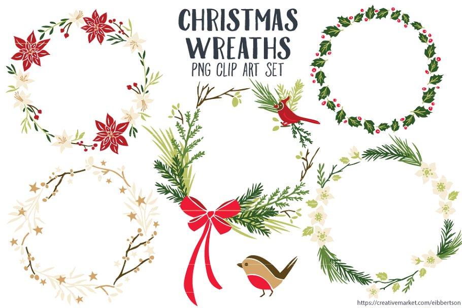 Christmas Wreaths Clip Art PNG.