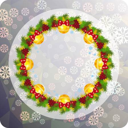 Holiday background with Christmas wreath and snowflakes. Copy...