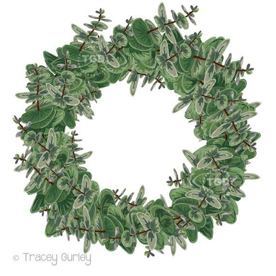 Eucalyptus Wreath Clip Art, Christmas Wreath Graphic, Green Holiday Wreath,  Christmas Clip Art, Hand painted clip art.