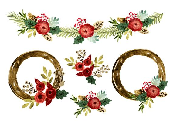 Christmas clipart, Christmas borders clipart, christmas wreath clipart,  christmas borders, watercolor christmas clipart.