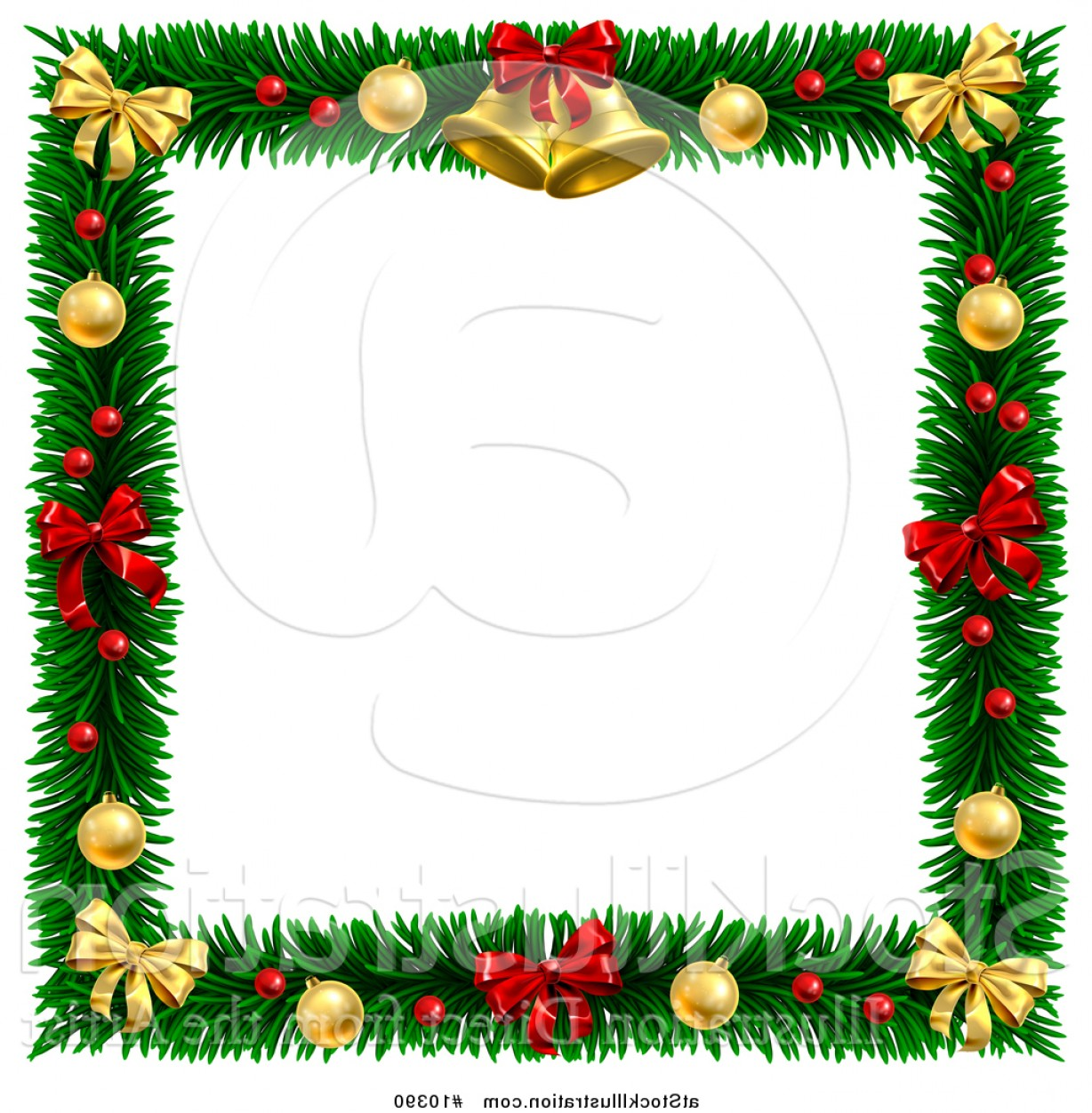 Vector Illustration Of A Christmas Wreath Border Frame With Bells.