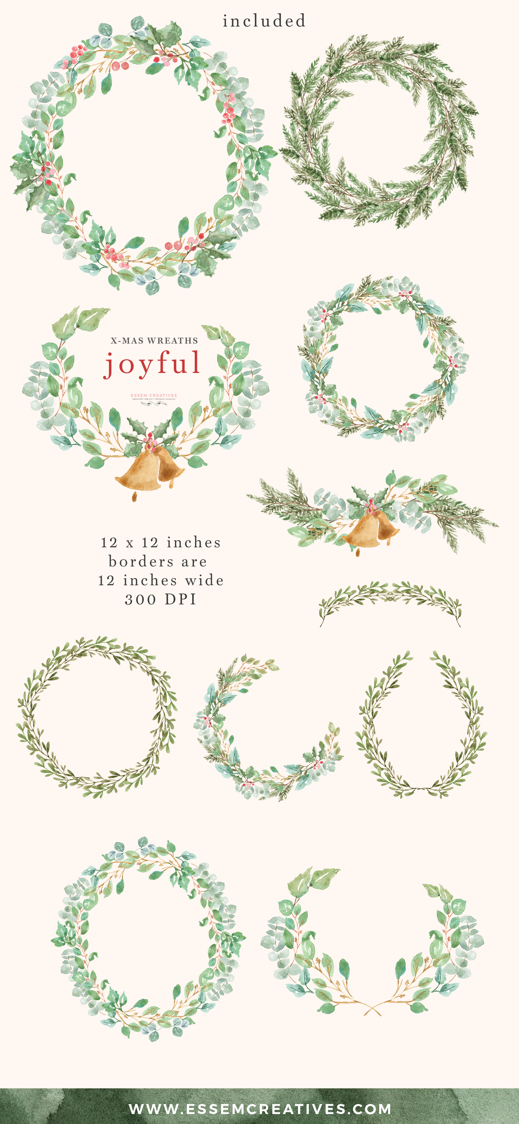 Watercolor Christmas Wreath Clipart for Holiday Cards.