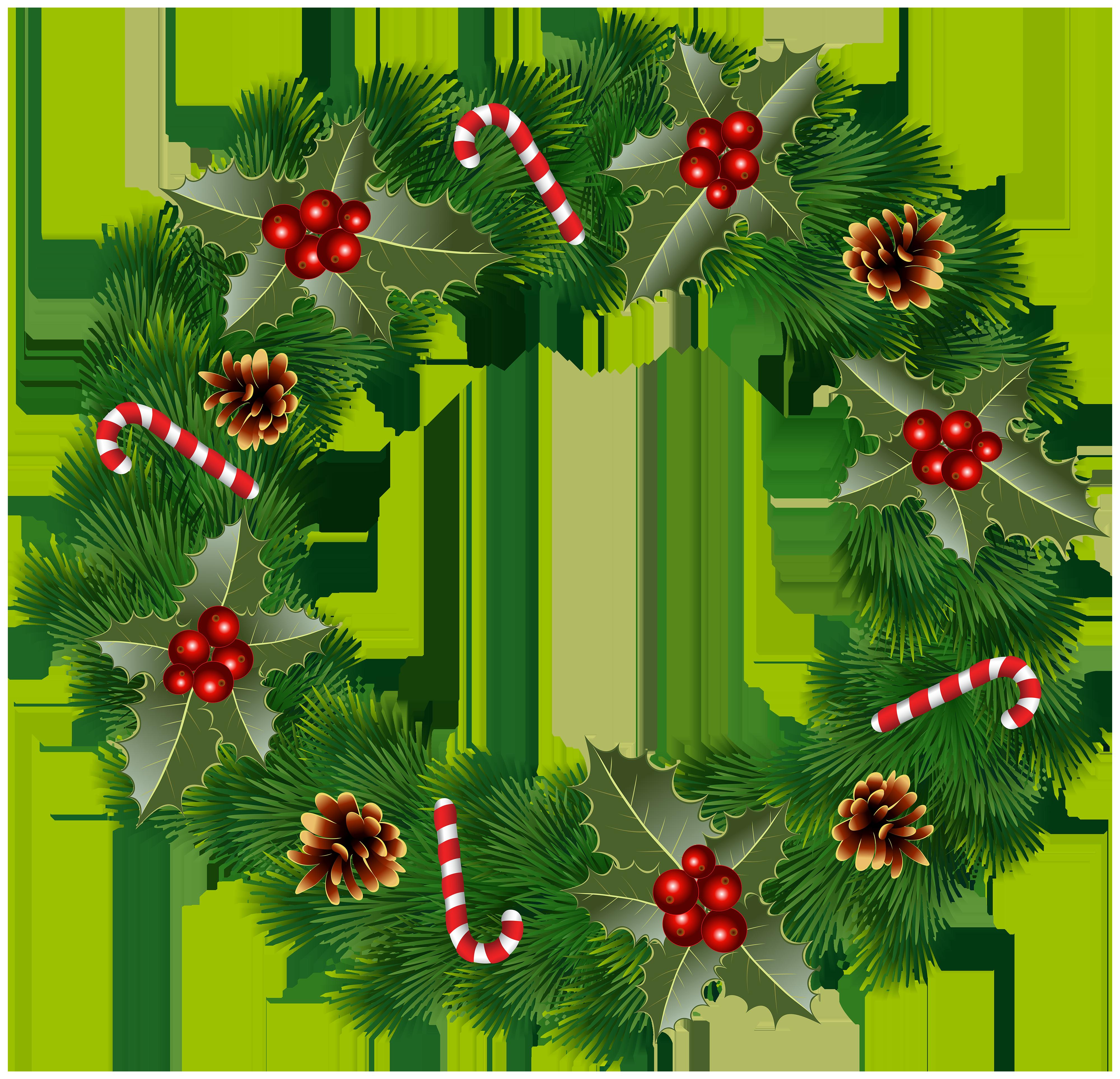 Christmas Wreath Clip Art Image.