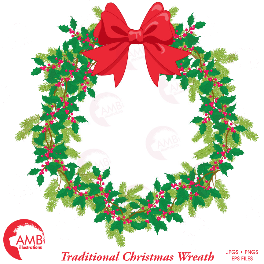 Holiday Christmas Wreath Traditional Clipart Base Transparent Png.