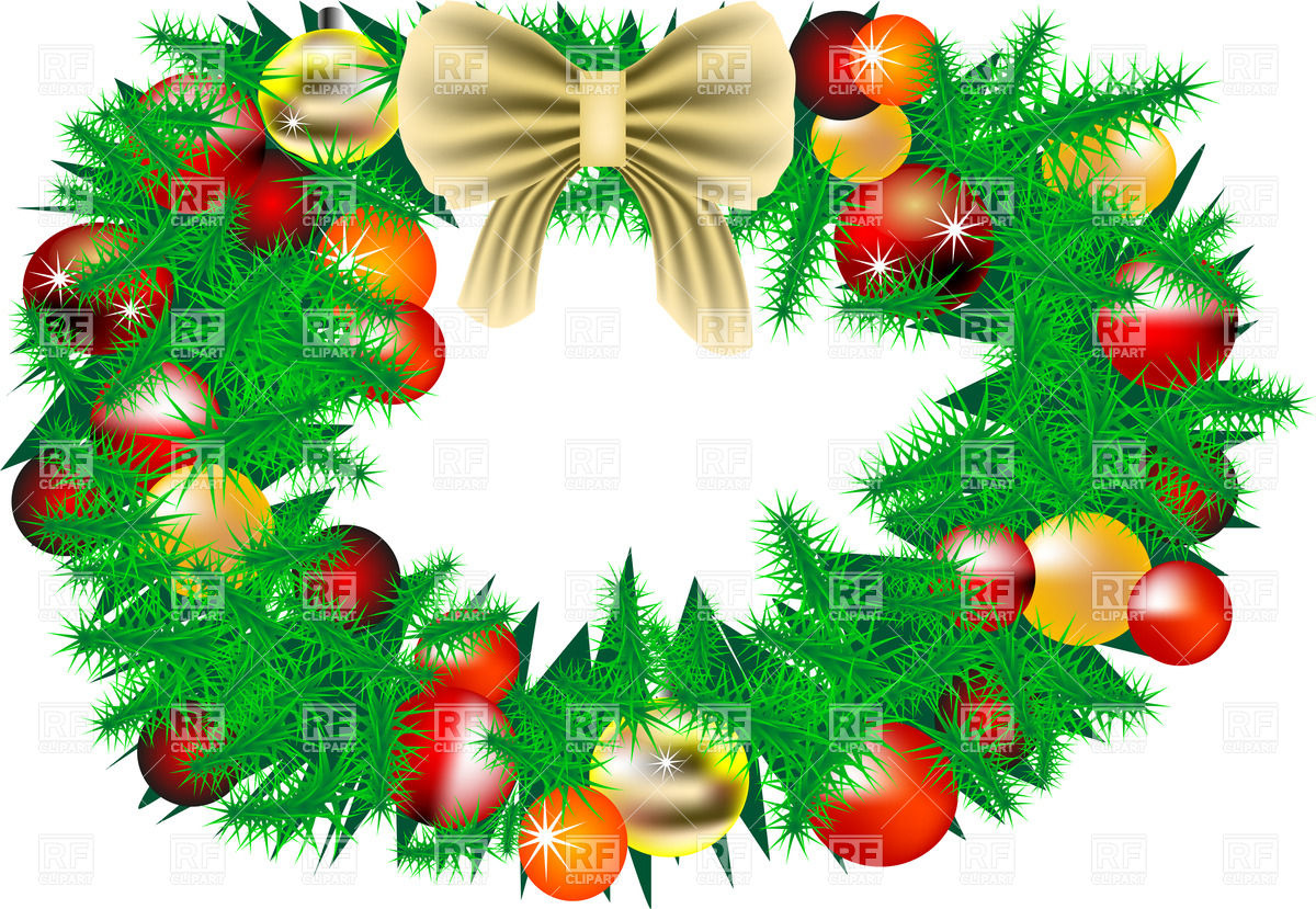 Christmas wreath with decorations Stock Vector Image.