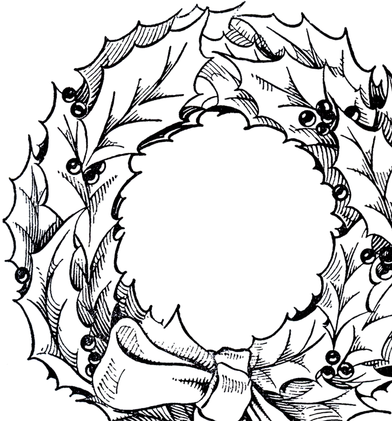 Vintage Christmas Wreath Graphic.