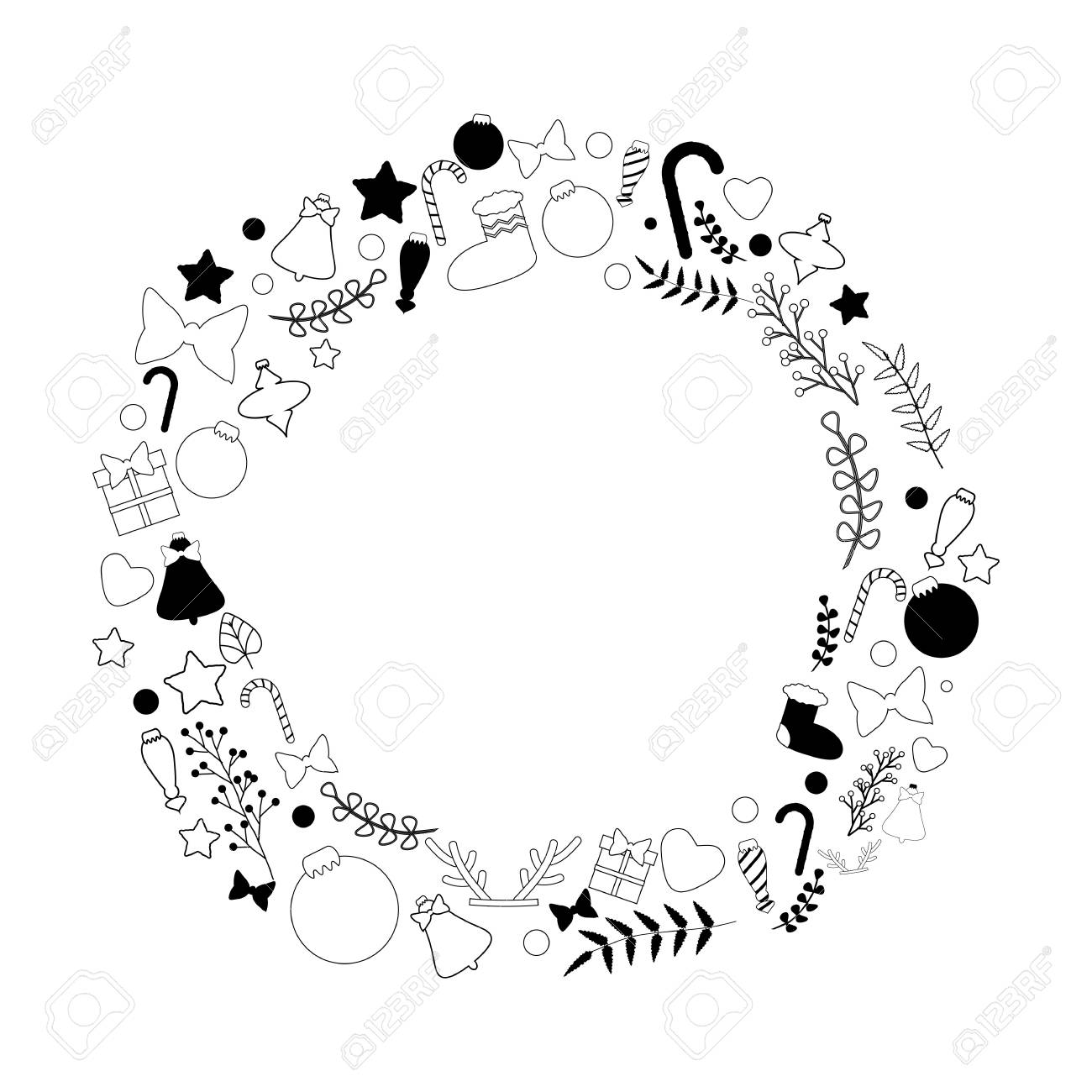 Beautiful vector christmas wreath in black and white color palette...