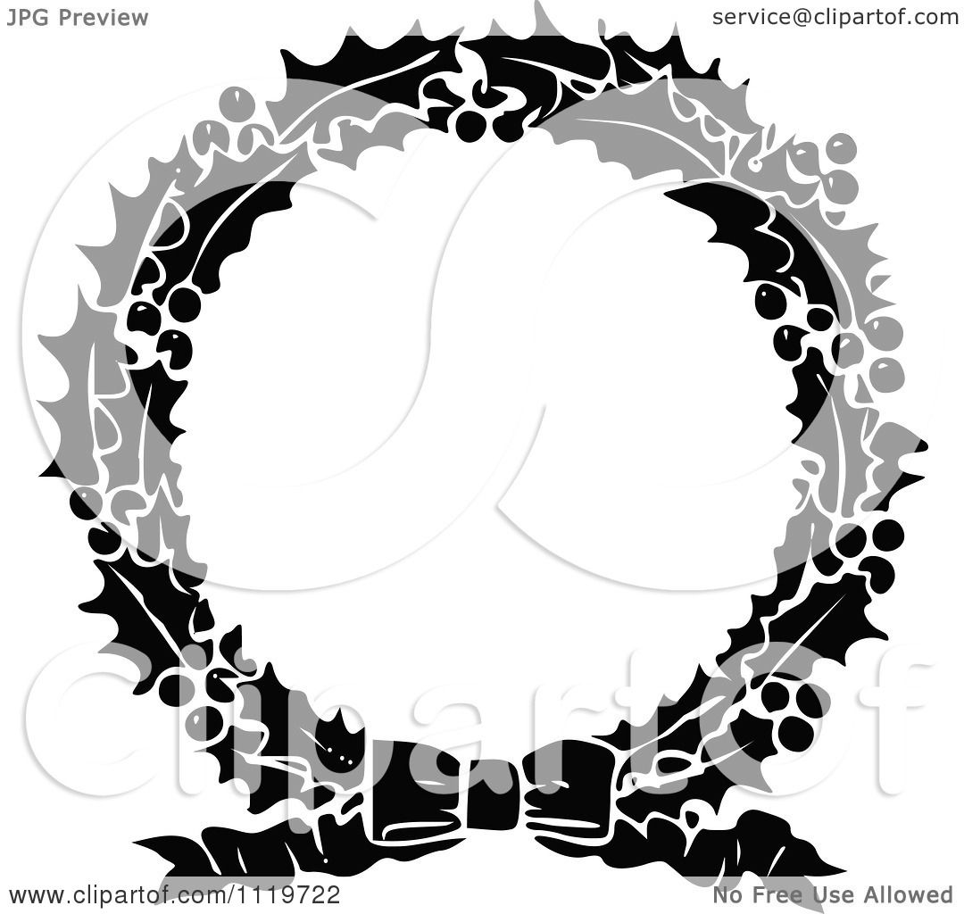 Clipart Of A Retro Vintage Black And White Holly Christmas Wreath.