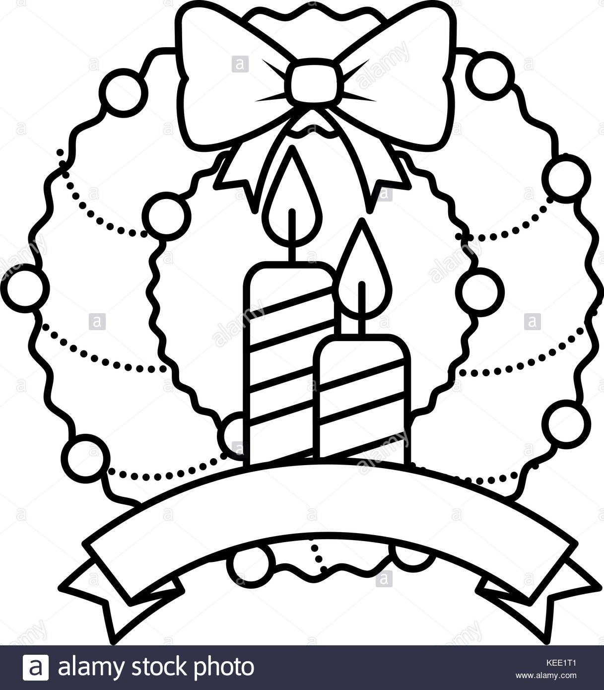 Christmas Garland Clipart Black And White.