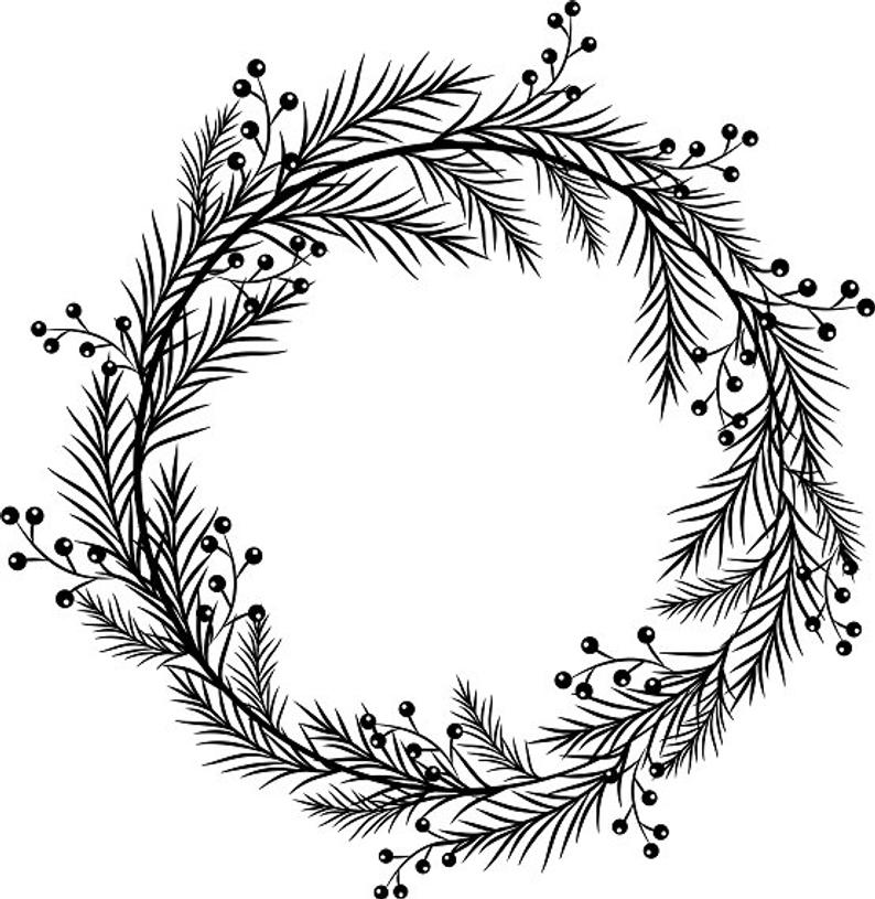Black Wreath Printable Wreath Berry Clipart Christmas Frame Pine Brunch  Berry.