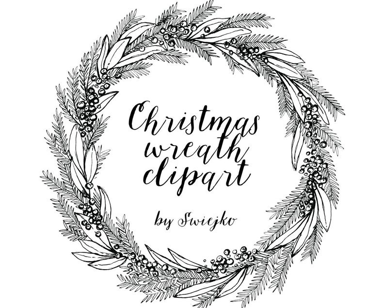 Christmas Wreath, Hand Drawn Clipart, holiday wreat, mistletoe, ink,  printable christmas wreath.