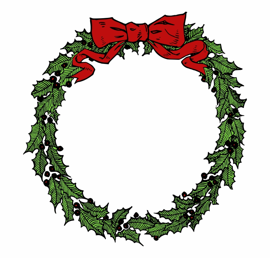Free To Use Public Domain Christmas Wreath Clip Art.